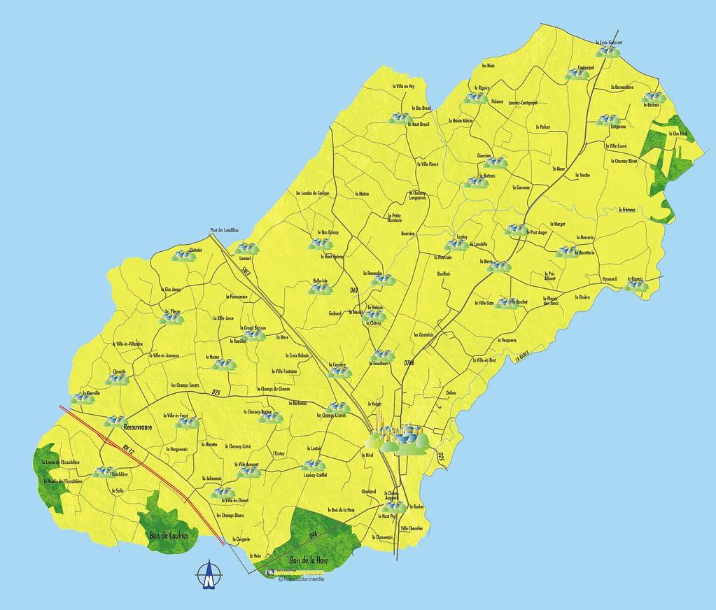 Plan de la commune de caulnes