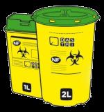 boites jaunes avec couvercle vert