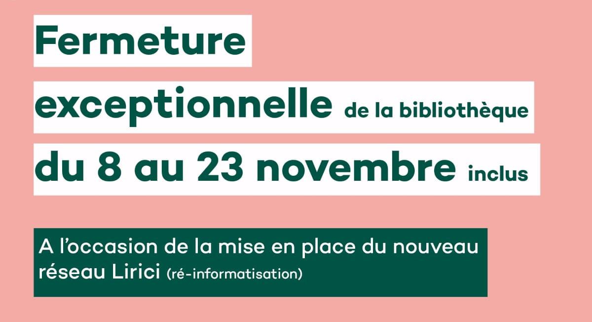 You are currently viewing Fermeture exceptionnelle de la bibliothèque