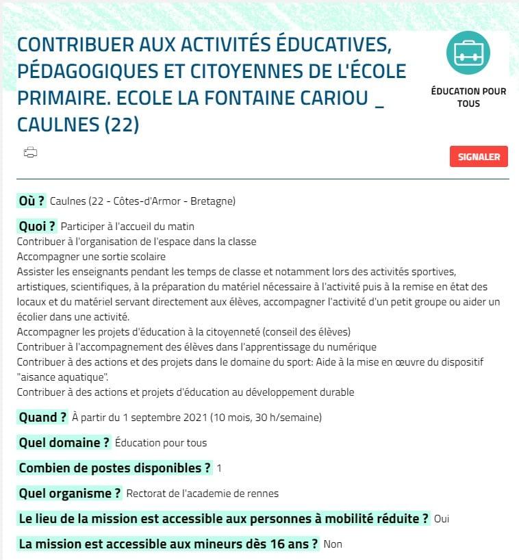 Read more about the article Offre d'emploi en service civique pour l'année scolaire 2021/2022