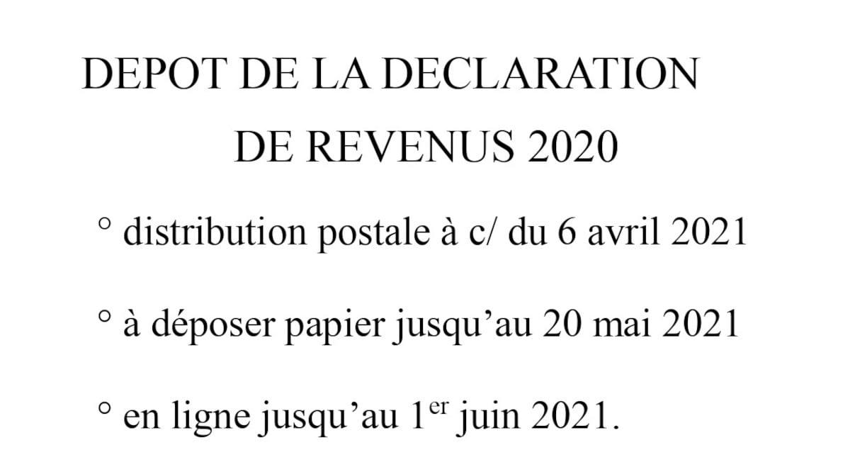 Déclaration de revenus 2020